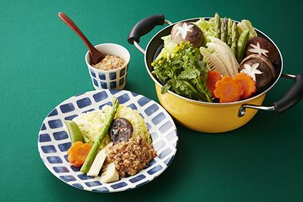春野菜の蒸し煮 肉みそかけ